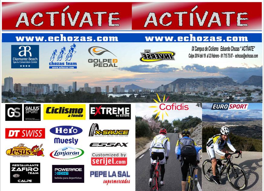 """Díptico 2014 Del 19 al 23 de febrero en Calpe (Alicante) IX Campus de Ciclismo Eduardo Chozas """"Actívate"""""""