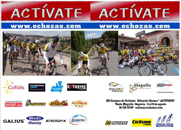 Díptico 2015 Cara exterior Campus de Ciclismo Actívate Eduardo Chozas - Venta Magullo