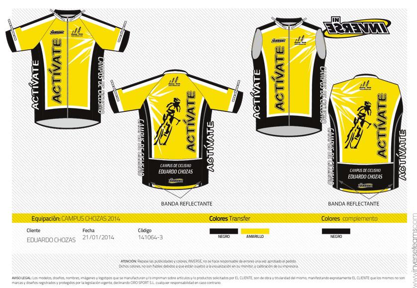 Diseño de Chaleco para los participantes del Campus de Ciclismo
