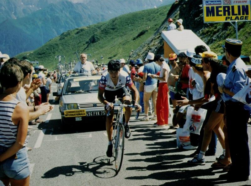 Últimos metros antes de la llegada al Col du Granon, victoria de Eduardo Chozas en 1986