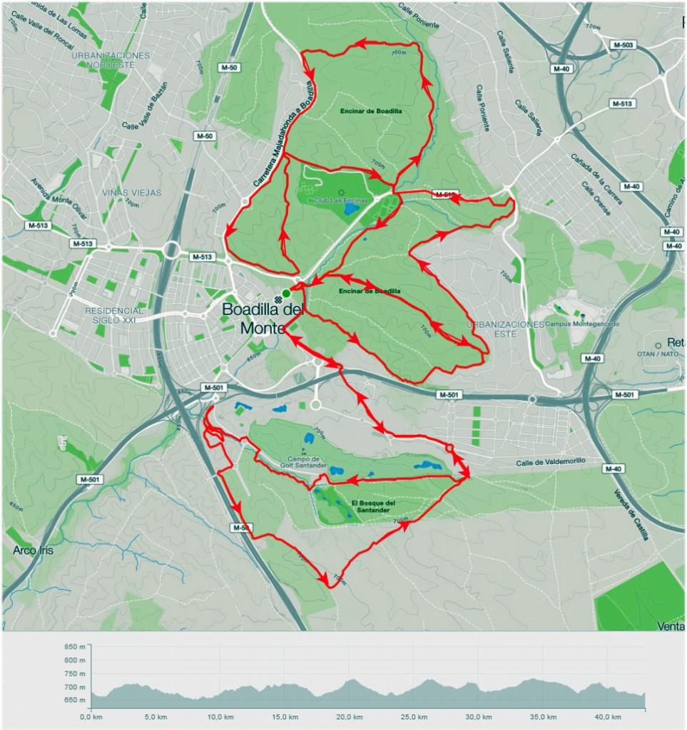 Recorrido 1: 42 km todo lo marcado Recorrido 2: 22 km primera parte Recorrido 3: Monte Sur y Gymkana