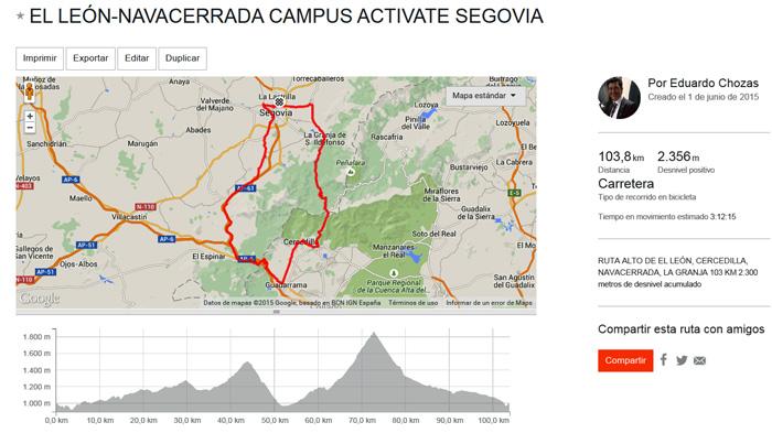 Ruta del Alto de El León y Navacerrada: https://www.strava.com/routes/2480901