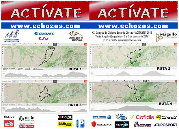 Díptico del XXI Campus de Ciclismo Eduardo Chozas Actívate Venta Magullo (Segovia)