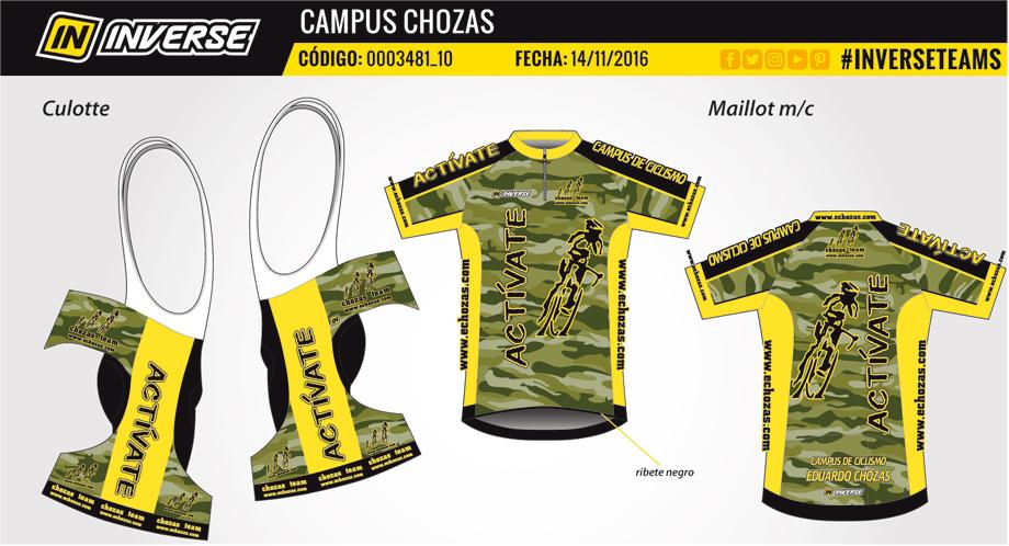 """Conjunto maillot y culote #campuschozas """"Actívate"""" 120 € (maillot 55 € culote 65 €)"""